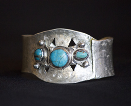 Sculptured bracelet with turquoise by Tim DeShong