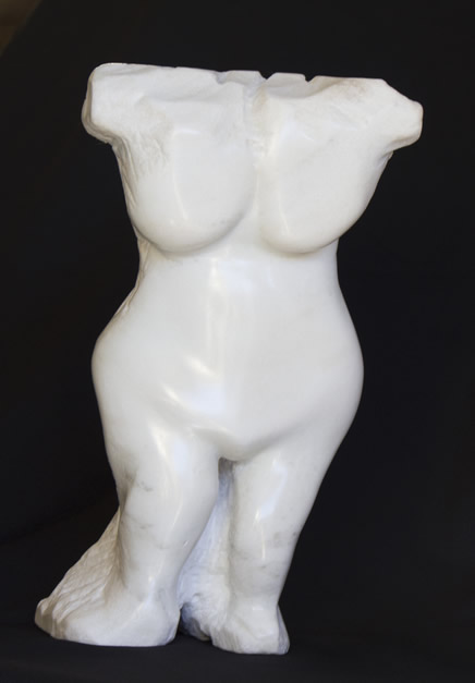 Two sides of Love, is a sculptured bust of Colorado Yule Marble.
