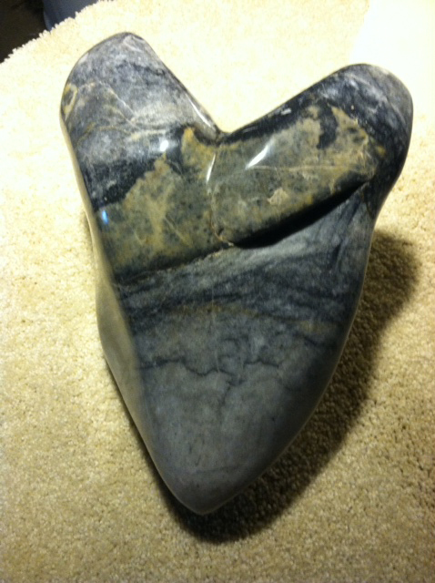 sculputerd heart of Black Marble at the Outnumbered Gallery in Littleton, Coloraedo