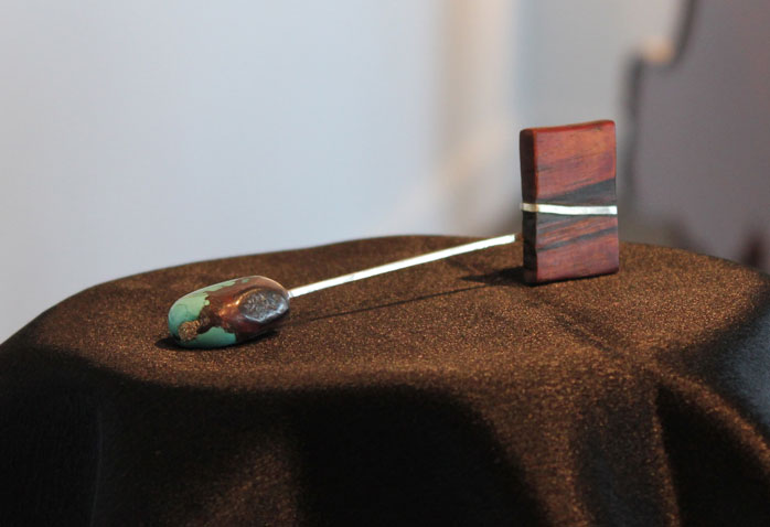Pocket sculpture with turquoise, Koa wood and Silver